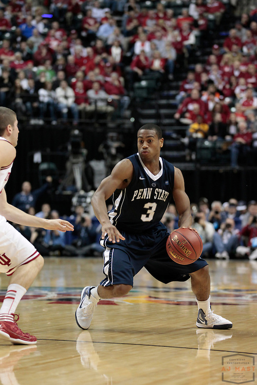 08 March 2012: Penn State Nittany Lions guard Trey Lewis (3) as the Indiana Hoosiers played the Penn State Nittany Lions in a college basketball game during the Big 10 Men's Basketball Championship in Indianapolis