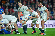 Twickenham, United Kingdom, Saturday, 9th March 2019,  RFU, Rugby, Stadium, England, left to right, Joe LAUNCHBURY, Ben YOUNGS and Ellis GENGE during the Guinness Six Nations match, England vs Italy, © Peter Spurrier