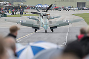 Hispano Buchons in Luftwaffe colours taxi back to the flight line - The Duxford Battle of Britain Air Show is a finale to the centenary of the Royal Air Force (RAF) with a celebration of 100 years of RAF history and a vision of its innovative future capability.