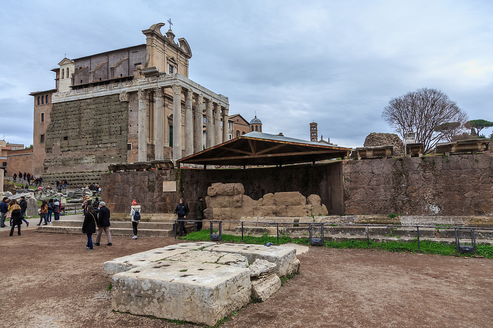 The remains of the Temple of Caesar in Forum Romanum in Rome, Italy. This temple is the place where the cremation of Julius Caesar took place a few days after his assassination.