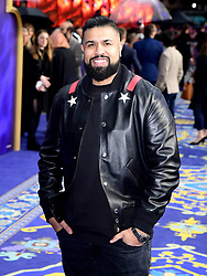 Humza Arshad attending the Aladdin European Premiere held at the Odeon Luxe Leicester Square, London.