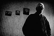 Tskhaltubo. John Benidze living alone in aroom.