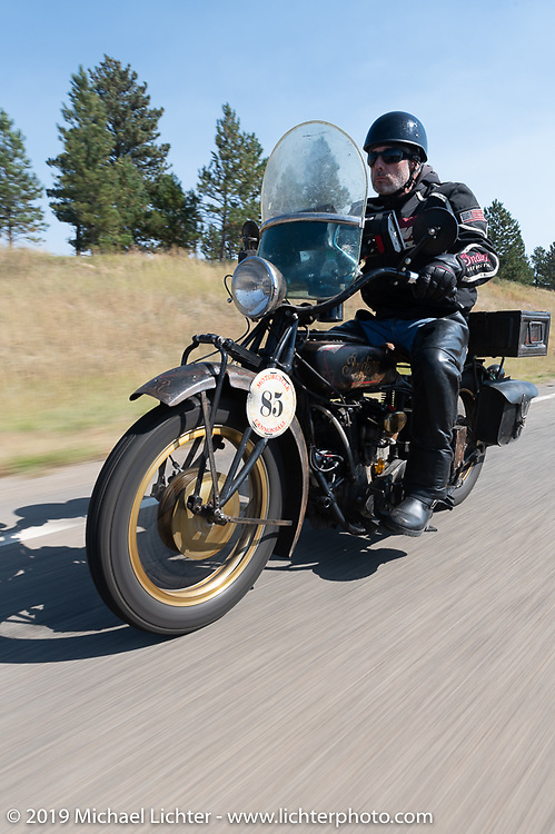 Jason Wadzinski riding his 1924 Indian in the Motorcycle Cannonball coast to coast vintage run. Stage 10 (299 miles) from Sturgis, SD to Billings, MT. Tuesday September 18, 2018. Photography ©2018 Michael Lichter.