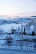 Ariel winter view of Tynda, Amur region. Siberia, Russia