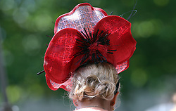 Close up of a female racegoer's hat during day three of Royal Ascot at Ascot Racecourse.
