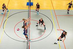 02-02-2019 NED: Regio Zwolle Volleybal - Sliedrecht Sport, Zwolle<br /> Round 16 of Eredivisie volleyball - Sliedrecht win the match 3-2 / Fleur Savelkoel #6 of Sliedrecht Sport , Demi Korevaar #8 of Sliedrecht Sport, Ana Rekar #11 of Sliedrecht Sport, Maureen van der Woude #8 of Zwolle, Manon Zeeboer #10 of Zwolle, Kim de Wild #4 of Zwolle, Siska Hoekstra #2 of Zwolle
