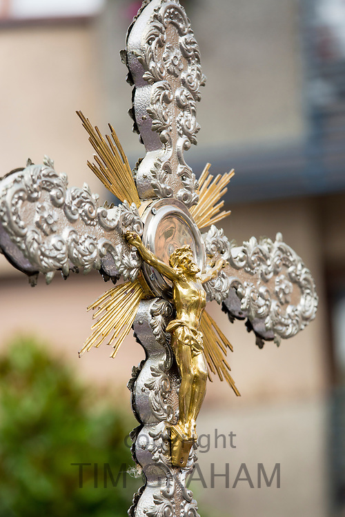 Crucifix of Jesus Christ at traditional religious fiesta at Villaviciosa in Asturias, Northern Spain