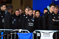 Leicester players including James Maddison (centre) pay respects to club chairman Vichai Srivaddhanaprabha, who was among those to have tragically lost their lives on Saturday evening when a helicopter carrying him and four other people crashed outside King Power Stadium.