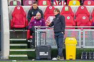 Brentford manager Thomas Frank discusses tactics with Brentford Assistant manager Brian Riemer during the EFL Sky Bet Championship match between Brentford and Coventry City at Brentford Community Stadium, Brentford, England on 17 October 2020.