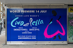 © Licensed to London News Pictures. 15/06/2021. London, UK. Andrew Lloyd Webber's latest musical Cinderella showing at the Gillian Lynne Theatre in London's West End has postponed its opening again due the Covid 19 lockdown delayed until July 19th. Last week, the theatre mogul said he was prepared to risk arrest by going ahead with 21st June reopenings of his theatre productions regardless of lockdown delay. Photo credit: Ray Tang/LNP