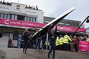 London. UNITED KINGDOM.  162nd BNY OUWBC, carry their boat out  The 71st Newton Women's Boat Race on the Championship Course, River Thames, Putney/Mortlake.  Sunday  27/03/2016    [Mandatory Credit. Intersport Images]<br /> <br /> Oxford University Women's Boat Club {OUWBC} vs Cambridge University Women's Boat Club {CUWBC} <br /> <br /> Oxford, Crew Cox – Morgan Baynham-Williams, Stroke – Lauren Kedar, 7 – Maddy Badcott, 6 – Anastasia Chitty, 5 – Elo Luik, 4 – Ruth Siddorn, 3 – Joanneke Jansen, 2 – Emma Spruce, Bow – Emma Lukasiewicz