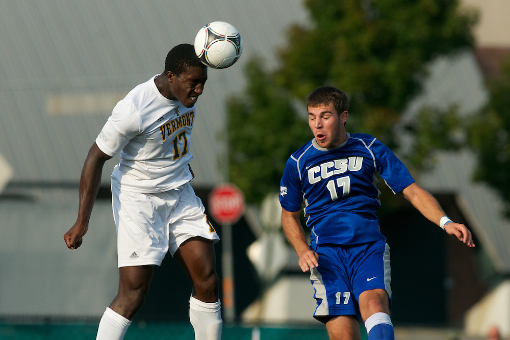 Catamounts forward D.J. Elder (17) heads the ball during the men's soccer game between the Central Connecticut State University Blue Devils and the Vermont Catamounts at Virtue Field on Friday afternoon September 7, 2012 in Burlington, Vermont.