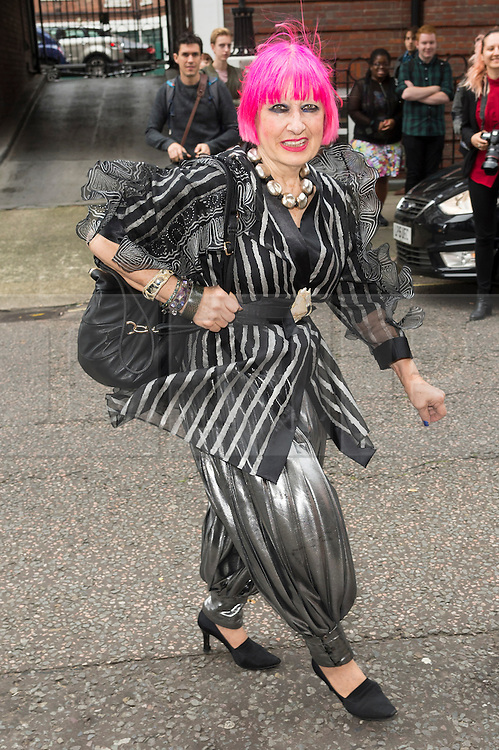 © Licensed to London News Pictures. 17/09/2016. DAME ZHANDRA RHODES arrives for the JULIEN MACDONALD Spring/Summer 2017 show. Models, buyers, celebrities and the stylish descend upon London Fashion Week for the Spring/Summer 2017 clothes collection shows. London, UK. Photo credit: Ray Tang/LNP