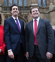 © licensed to London News Pictures. London, UK. FILE PIC DATED 19/11/2012. MP STEPHEN DOUGHTY (right) who has resigned as a shadow foreign minister, pictured with former Labour Party Leader ED MILIBAND outside the House of Commons following a by-election victory. Photo credit: Tolga Akmen/LNP