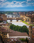The river Arno and Ponte Vecchio bridge in Firenze (Florence), Italy