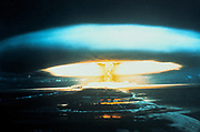 150-megaton thermonuclear explosion, Bikini Atoll, l March 1854. Unexpected spread of fallout led to awareness of, and research into, radioactive pollution.  UNO photograph.