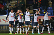Bolton Wanderers Daryl Murphy celebrates his first goal during the EFL Sky Bet League 1 match between Bolton Wanderers and Southend United at the University of  Bolton Stadium, Bolton, England on 21 December 2019.