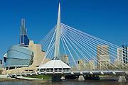 Canadian Museum for Human Rights (CMHR) and the Esplanade Riel Bridge<br /> Winnipeg<br /> Manitoba<br /> Canada