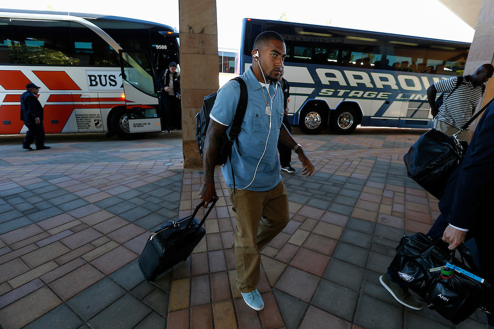 Philadelphia Eagles wide receiver DeSean Jackson #10 arrives at the Westin Westminster for the NFL game between the Philadelphia Eagles and the Denver Broncos on Saturday, September 28th 2013 in Westminster, Colorado. (Photo by Brian Garfinkel)