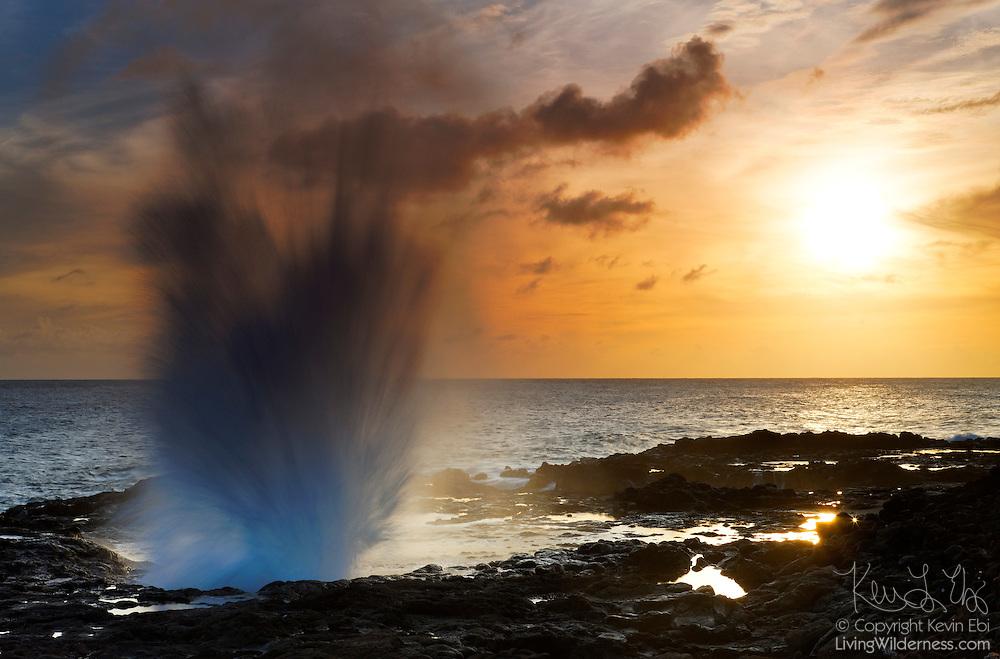 Pacific Ocean waves crash under a lava shelf and power through a blowhole known as Spouting Horn on the Hawaiian island of Kauai. Spouting Horn's spray often reaches 50 feet into the air.