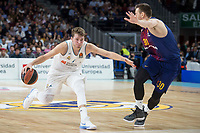 Real Madrid Luka Doncic and FC Barcelona Lassa Victor Claver during Turkish Airlines Euroleague match between Real Madrid and FC Barcelona Lassa at Wizink Center in Madrid, Spain. December 14, 2017. (ALTERPHOTOS/Borja B.Hojas)