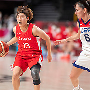 TOKYO, JAPAN August 8:   Rui Machida #13 of Japan defended by Sue Bird #6 of the United States during the Japan V USA basketball final for women at the Saitama Super Arena during the Tokyo 2020 Summer Olympic Games on August 8, 2021 in Tokyo, Japan. (Photo by Tim Clayton/Corbis via Getty Images)
