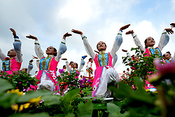 Aug. 8, 2017 - Hohhot, Inner Mongolia, China - Dancers perform during the celebration marking the 70th anniversary of the Inner Mongolia Autonomous Region in Hohhot, Inner Mongolia. (Credit Image: © Ren Junchuan/Xinhua via ZUMA Wire)
