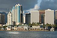 Skyline of Downtown Honolulu, Oahu, Hawaii