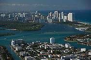Aerial view of Bay Harbor Islands, Miami Beach, Florida.