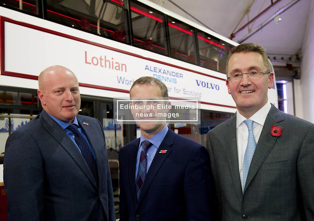 Richard Hall, managing director of Lothian (left), with Michael Matheson, Scottish Transport and Infrastructure Secretary, and Colin Robertson, CEO of Alexander Dennis at launch of new bus for Lothian at the Falkirk plant of Alexander Dennis