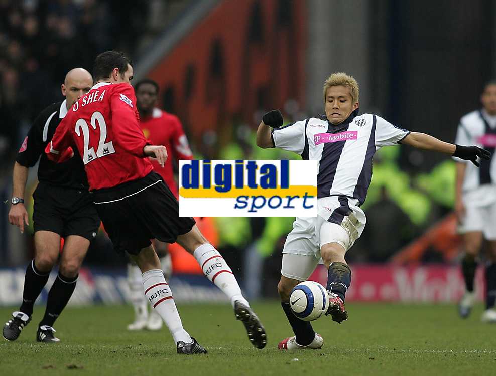 Photo: Lee Earle.<br /> West Bromwich Albion v Manchester United. The Barclays Premiership. 18/03/2006. Albion's Junichi Inamoto (R) goes in on John O'Shea.