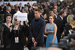 January 27, 2019 - Los Angeles, California, U.S - JUSTIN HARTLEY watches his wife during silver carpet arrivals for the 25th Annual Screen Actors Guild Awards, held at The Shrine Expo Hall. (Credit Image: © Kevin Sullivan via ZUMA Wire)