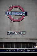 Original London Underground sign at Leicester Square tube on the Charing Cross Road. This is the classic signage that has lasted so well.