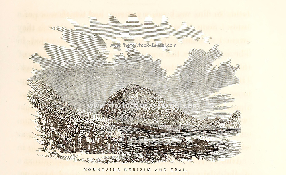 Mount Gerizim and Mount Ebal near Shechem [Nablus, West Bank. In Samaritan tradition, Mount Gerizim is held to be the highest, oldest and most central mountain in the world] Wood Engravings from the book 'Palestine, past and present' with Biblical, Literary and Scientific Notices by Rev. Osborn, H. S. (Henry Stafford), 1823-1894 Published in Philadelphia, by J. Challen & son; in 1859