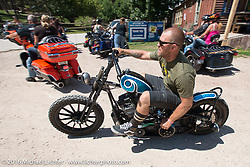 Tabor Nash at the Nemo Guest Ranch on the Annual Cycle Source and Michael Lichter Rides (combined this year) left from the new Broken Spoke area of the Iron Horse Saloon during the Sturgis Black Hills Motorcycle Rally. SD, USA.  Wednesday, August 10, 2016.  Photography ©2016 Michael Lichter.