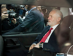 © Licensed to London News Pictures. 12/05/2017. London, UK. Labour party leader Jeremy Corbyn leaves Chatham House by car after outlining his national security and foreign policy in a speech. The general election is on June 8, 2016. Photo credit: Peter Macdiarmid/LNP
