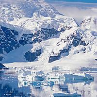 ANTARCTICA. Glacier and icebergs, Paradise Bay, Antarctic Peninsula.