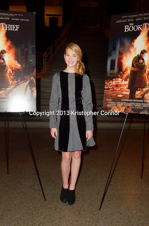 """WASHINGTON, DC - NOVEMBER 7: Actress Sophie Nelisse attends  the premiere of """"The Book Thief,"""" sponsored by the US Holocaust Museum at the United States Holocaust Memorial Museum on November 7, 2013 in Washington, DC. (Photo by Kris Connor/20th Century Fox)"""