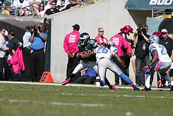 Philadelphia Eagles wide receiver DeSean Jackson (10) carries the ball during the NFL game between the Detroit Lions and the Philadelphia Eagles on Sunday, October 14th 2012 in Philadelphia. The Lions won 26-23 in Overtime. (Photo by Brian Garfinkel)