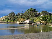 Harbor side view of Waikouaiti Harbor at Karitane, Otago, New Zealand.