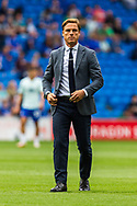 Bournemouth Manager Scott Parker during the pre-match warm-up before the EFL Sky Bet Championship match between Cardiff City and Bournemouth at the Cardiff City Stadium, Cardiff, Wales on 18 September 2021.