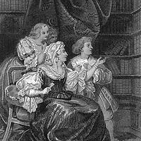 Anne dite Ninon de Lenclos (1620-1705) femme de lettres francaise ici montrant ses livres au jeune Voltaire c. 1704, gravure  --- Ninon de Lenclos (1620-1705) french woman of letters showing her books to young Voltaire c. 1704, engraving<br /> <br /> Copyright Rue Des Archives/Writer Pictures<br /> <br /> NO FRANCE, NO AGENCY SALES