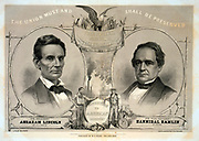 The Union Must and Shall be Preserved 1860. Print shows a campaign banner for the Republican ticket