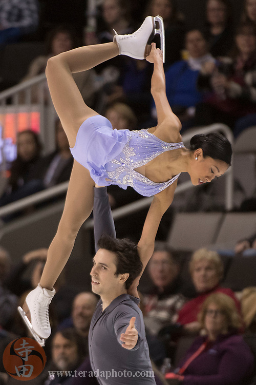 January 4, 2018; San Jose, CA, USA; Jessica Calalang and Zack Sidhu performs in the pairs short program during the 2018 U.S. Figure Skating Championships at SAP Center.