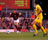 Photo: Alan Crowhurst.<br />Arsenal v Villarreal. UEFA Champions League. Semi-Final, 1st Leg. 19/04/2006. Thierry Henry (l) on the attack for Arsenal.