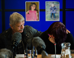 © Licensed to London News Pictures. 03/10/2012. Aberystwyth UK: CORAL JONES (mother of APRIL JONES) and DAI SMITH (step grandfather) make an emotional appeal for the safe return of the five year old girl, abducted from near her home in Machynlleth Powys Wales on the evening of October 1st 2012. Photo credit: Keith Morris/LNP