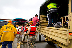 August 27, 2017 - Houston, Texas, U.S. - Texas National Guard soldiers assist residents affected by flooding caused by Hurricane Harvey in Houston, August. 27, 2017. (Credit Image: ? Zachary West/DOD via ZUMA Wire/ZUMAPRESS.com)