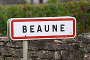road sign beaune cote de beaune burgundy france