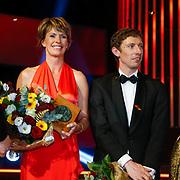 NLD/Amsterdam/20121218 - NOC/NSF Sportgala 2012, winnares Fanny Blankers Keon prijs, Anky van Grunsven en sportcoach van het jaar Daniel Kibbeler