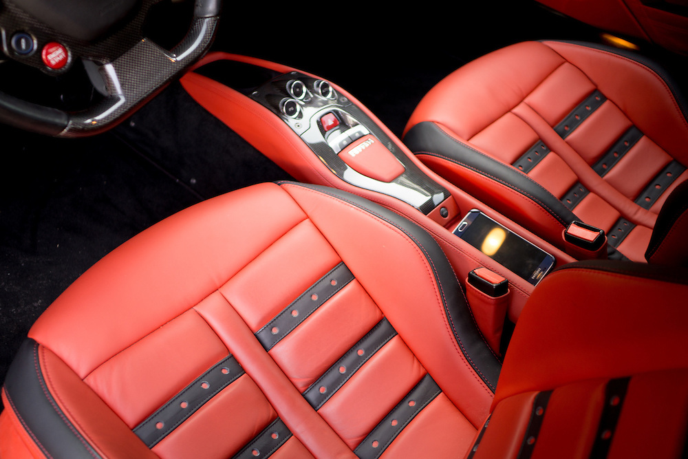 DORAL, FLORIDA, DECEMBER 11, 2015<br /> Customized interior on a Ferrari which belongs to a professional athlete. The customization was done by The Auto Firm, owned by Alex Vega, which has a vast clientele of athletes and entertainers.<br /> (Photo by Angel Valentin/Freelance)